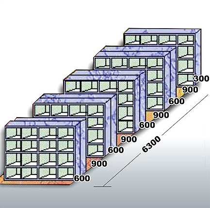 The fixed rack conventional<br> system occupying more<br> space due to four passage